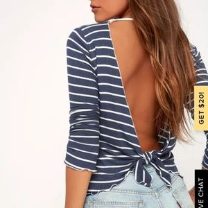 Navy and white striped open back top